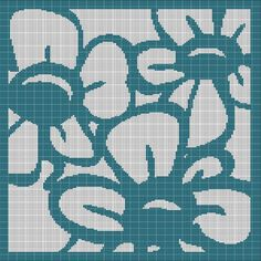 TURQUOISE+FLOWERS+CROCHET+AFGHAN+PATTERN+GRAPH