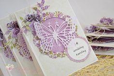 Miszmasz papierowy: Zaproszenia na urodziny w fioletach