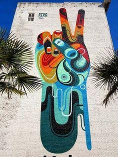 "Street art in San Francisco, USA by Australian artist Reka ""Peace Man"" ] | streetart | sanfrancisco | urbanart | graffiti"