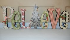 """Chevron Christmas """"Believe"""" Wooden Letters, Christmas Tree"""