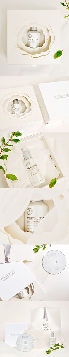 THE FACE SHOP-WHITE SEED BRIGHTNING SERUM PRESS KIT cosmetics packaging design