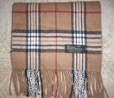 "Vintage 100% Cashmere Beige Nova Check Plaid Scarf 65"" Made in England England #Unbranded #Scarf"