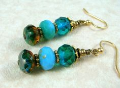 Ocean Blue TriColor Dangles by PurplePansy333 on Etsy, $9.00