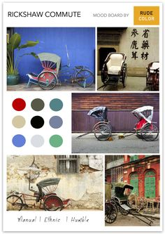 A two or three wheeled passenger cart, rickshaws are a popular form of transport in most Asian countries. Moodboard for rickshaws - the transport with the lowest carbon footprint Mode Of Transport, Low Carbon, Carbon Footprint, Mood Boards, Lowes, Countries, Transportation, Cart, Palette