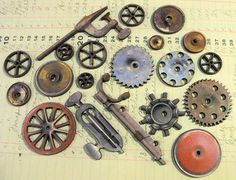 Vintage Gears and Wheels and Pulleys and Finger by porkchopshow