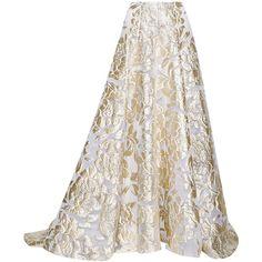 Lela Rose Metallic fil coupé maxi skirt (35.485 VEF) ❤ liked on Polyvore featuring skirts, bottoms, saias, maxi skirt, long skirts, gold, white floral skirt, high waisted maxi skirt, high waisted skirts and floral print maxi skirt