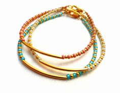 gold bar bracelet SET OF 3  coral / turquoise tiny beads by BitsyQ