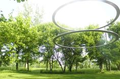 Rings floating in the park..