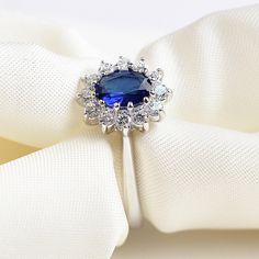 USTAR 공주 만든 보석 지르콘 반지 무드의 실버 컬러 웨딩 반지 여성 블루 크리스탈 anel 비쥬