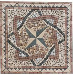 Marmor Rosone 66x66 Sonne Mosaik Einleger Naturstein Roja Alicante Fliesen
