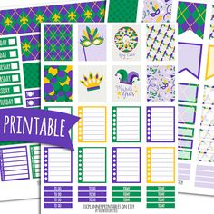Mardi Gras PRINTABLE Planner Stickers for Erin Condren Vertical | Sticker Printables | Happy Planner Stickers | Fat Tuesday | Lent Stickers