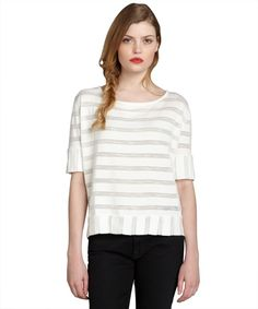 72ac372f156 Pure   Simple white cotton striped short sleeve  Anita  top