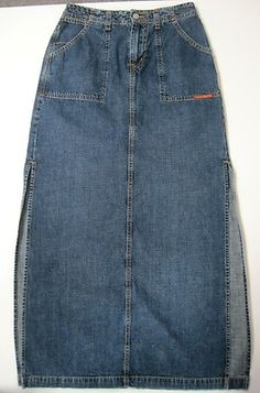 Lucky Brand Jean Skirt Denim Women's Size 4 / 27 Long w Side Slits Pencil Syle