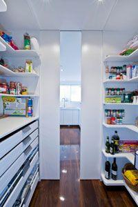 Kitchen pantries on pinterest pantries pantry design for Modern walk in pantry