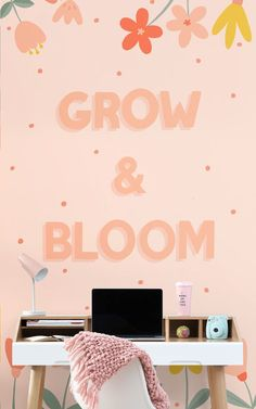 Brighten up your space in a truly feel-good way, with this pink typography wallpaper that inspires you to grow & bloom. Typography Wallpaper, Typography Quotes, Motivational Wallpaper, Wallpaper Quotes, Palette, Pink Home Decor, Pink Accents, Pastel Wallpaper, Color Rosa