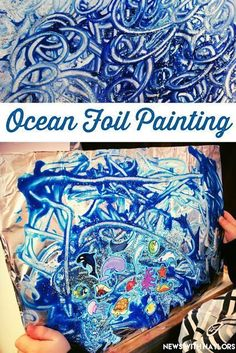 Visual Arts/Creative-Ocean Foil Painting for toddlers and preschoolers. Tape a piece of tinfoil onto a cardboard poster board. Paint, glitter and add ocean stickers. My boys were so proud of their finished ocean! Letter O Crafts. Preschool Art, Toddler Preschool, Preschool Lessons, Toddler Crafts, Toddler Activities, Water Theme Preschool, Preschool Beach Crafts, Preschool Painting, Water Animals Preschool