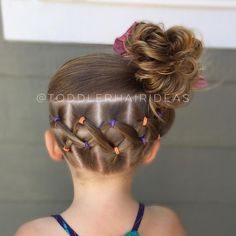 """168 Likes, 10 Comments - Cami  Toddler Hair Ideas (@toddlerhairideas) on Instagram: """"Today I did 3 columns with 4 ponies each. The side columns I did on a diagonal for a fun effect!…"""""""