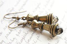 Chess Queen Earrings. Smoky Quartz Crystal. Antique by KapKaDesign, $32.00