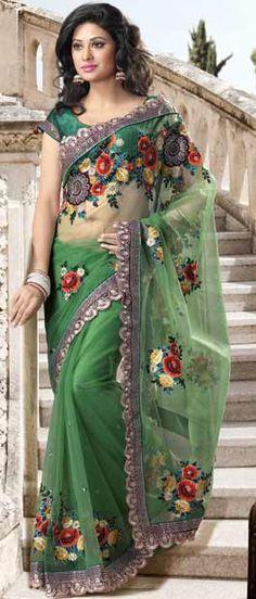 Itemcode:SKK11891-Green Net Saree with Blouse http://www.utsavfashion.com/store/sarees-large.aspx?icode=SKK11891