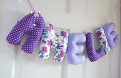 AMELIE - Personalized Baby name wall hanging, kids nursery decor. Perfect gift for a new baby girl. Purple christening gift.