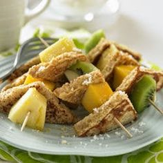 Whole Grain French Toast and Tropical Fruit Kabobs