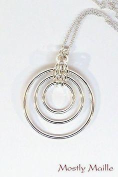 handmade, bullseye, argentium, silver, chainmaille, chain maille, chain mail, statement #handmadejewelrydesigns  #jewelrydiy