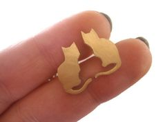 GOLD Cheeky sitting cat earrings  Shiny gold Cat by SmallGreyCat, $10.00
