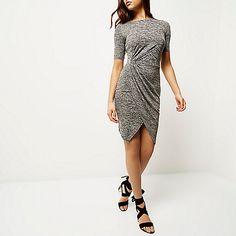 Grey side knot dress - bodycon dresses - dresses - women