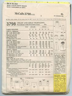 1970s McCall's 3798 Girls' Nightgown Pajamas and by GreyDogVintage