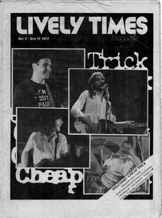 ♥ 1977 - First Publication In The First Week Of October Of Rockford IL. Lively Times ♥ A Few Weeks Later The Band Plays On Halloween Nite At The Rockford Armory In Downtown Rockford ♥