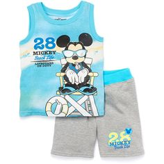 Look what I found on Blue Mickey Mouse Tank & Gray Shorts - Toddler Big Boy Clothes, Disney Baby Clothes, Kids Clothes Boys, Kids Pants, Boys Summer Outfits, Toddler Outfits, Baby Boy Outfits, Kids Outfits, Baby Boy T Shirt