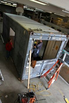 We paid a visit to the shop where our container is taking shape. Still to come: framing the interior, windows, cabinets and a fresh paint job. King County, Taking Shape, Parks, Container, Camping, Box, Awesome, Interior, Futons