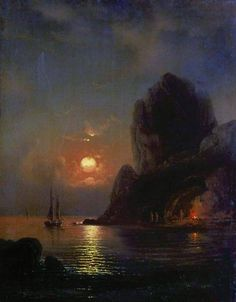 Alexey Petrovich Bogolyubov March 1824 – 3 February Moonlit Night on the sea Oil on canvas, 1871 Russian Landscape, Web Gallery Of Art, Russian Painting, Art Folder, Winter Painting, Inspirational Artwork, Sea And Ocean, Beautiful Landscapes, Landscape Paintings