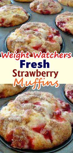 Weight Watchers Strawberry Muffins – BEST WW Recipe – Breakfast – Treat – Snack with Smart Points Ww Desserts, Healthy Desserts, Delicious Desserts, Dessert Recipes, Yummy Food, Skinny Recipes, Ww Recipes, Diabetic Recipes, Family Recipes