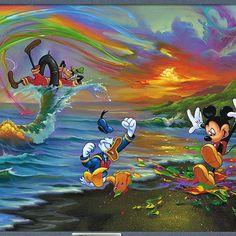 Jim Warren Disney Music, Disney Art, Rainbow Falls, Disney Paintings, Water Waves, Colour Board, Day Work, Custom Framing, Canvas