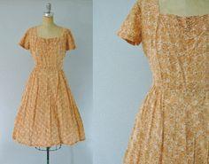 Vintage 1950s 1960s Orange Floral Dress Orange 50s Dress by JupeDuJour