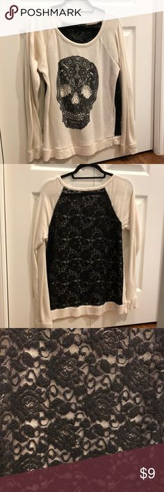 Long-Sleeve Skull Sweater Shirt Cool skull design Long sleeve Comfy Lace back **not for cold weather, could be used for layering though Express Tops Tees - Long Sleeve