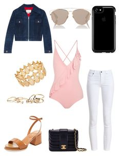 """Ruffled one piece"" by bethanyyk on Polyvore featuring Marysia Swim, Gucci, Barbour, Speck, Tod's, GUESS, Chanel, INC International Concepts and Christian Dior"