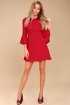 0332e0a64cd Center of Attention Red Flounce Sleeve Dress 2 Cute Cocktail Dresses