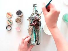 Elena Morgun - Altered Art Bottle for Finnabair CT - YouTube