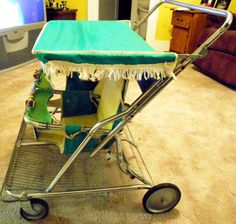 Vintage twin Strolee baby stroller from the 1960s.