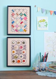 Sewing notions display art!! OMG- this is such a fab idea for all those pretty little bits of scrap fabric and buttons that are to cute to use!