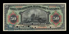 Canada, Traders Bank of Canada, 50 dollars : January 1909 Ontario City, January 2, Coins, Museum, Canada, Money, Sailing Ships, Flow, Stamps