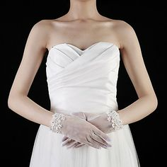 Tulle Wrist Length Fingertips Bridal Gloves With Rhinestone – USD $ 4.99