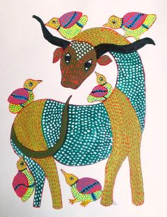 The Gonds are originally a forest dwelling tribe of Central India. Their brilliantly coloured paintings are found on walls and floors of their houses.