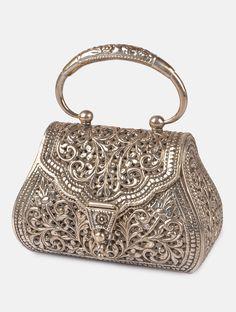 Trendy Women's Purses : Floral Jaal Purse - Vintage Purses, Vintage Bags, Vintage Handbags, Vintage Clutch, Vintage Shoes, Silver Bags, Silver Purses, Beaded Purses, Beaded Bags
