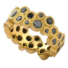 Devta Doolan One-of-a-Kind Brilliant-Cut Black Diamond Gold Double Bubble Ring | From a unique collection of vintage band rings at https://www.1stdibs.com/jewelry/rings/band-rings/