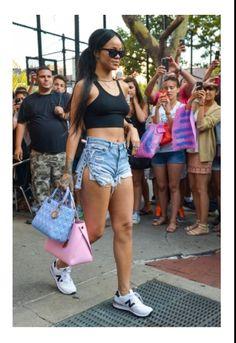 Rihanna with two handbag