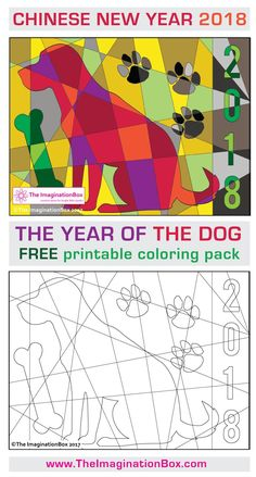 Download this Free Chinese New Year 2018 Year of the Dog coloring page printable activity pack for children. Ideal for teachers to use as an easy creative art lesson in the classroom. Makes a great bulletin board display. A poster and card template are also included in this design pack. Click on the link to download the 8 page pack.
