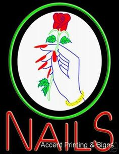 Nails Large Handcrafted Real GlassTube Neon Sign